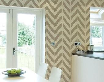 Ikat Zig-zag Stencil - reusable stencil patterns for walls just like wallpaper - DIY decor