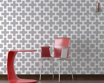 Square Plus Allover - Large scale - reusable stencil patterns for walls just like wallpaper - DIY decor