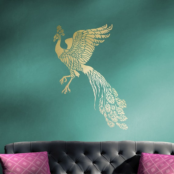 Firebird Wall Art Stencil DIY Peacock Decor Reusable