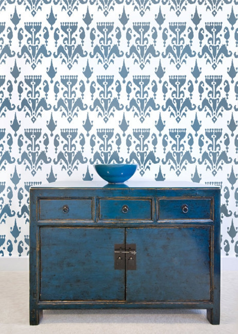 Wall Stencil Ikat Bukhara  Trendy stencils for walls instead image 0