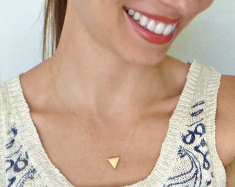 delicate layering Gold Vermeil Triangle necklace - Dainty. Meaning. bridesmaid. Layer. Simple. Gift. Minimalist Geometric sacred Health mom