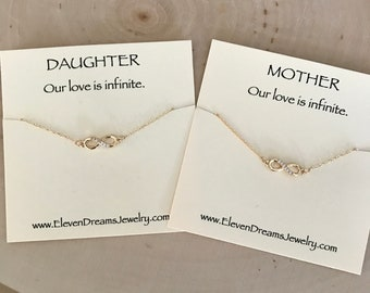 MOTHER / DAUGHTER Gold Infinity Necklace Set