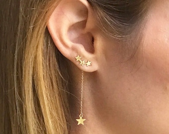 Best Seller!! Gold or Sterling Silver Celestial Star ear Climber earrings with Star Charm Drop.   3 in 1