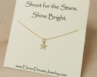 Gold or Sterling Silver Star Charm Necklace. Shoot for the Stars. Shine Bright. Meaningful. Inspiration. Dainty Layer necklace.
