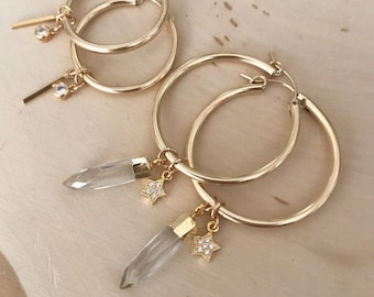 NEW! Gold Hoop Earrings with Crystal Quartz Points and Cubic Zirconia ( diamond look ) Star Charms