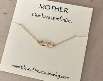 Mother INFINITY Necklace.  Gold and Cubic Zirconia. Infinite Love