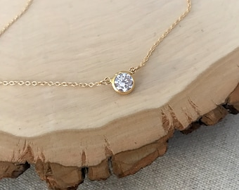 Cubic Zirconia Solitaire Necklace in Gold or Silver. 14k goldfill - Sterling Silver - diamond look