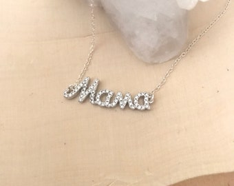 Diamond Look Mama Necklace. Cubic Zirconia and Sterling Silver
