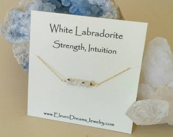 White Labradorite Bar Necklace. Gemstone bar necklace. White stone. Meaning card. Gift. Gift with meaning. Strength. Intuition. Spiritual