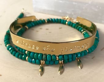 """Genuine Turquoise and Gold stamped message cuff wrap bracelet. """"Embrace the journey"""" . Meaningful spiritual empowering bracelet."""