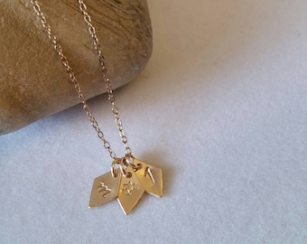 Initial gold charm necklace. Personalized hand stamped unique diamond shape. Bridesmaid. Minimalist. Goldfill. Lotus. Heart. Star