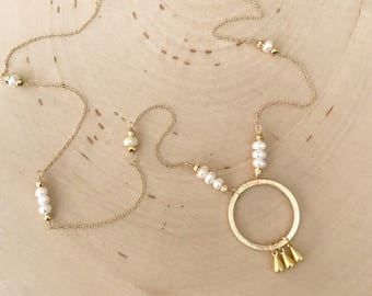 Long Frehwater Pearl Gold Circle Pendant Necklace with Dainty Drops