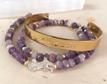 Purple Amethyst Gemstone and Gold Hand-Stanped Cuff Wrap Bracelet / Necklace. Spiritual jewelry with meaning.