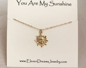 """CHILDREN'S and Adult """"You Are My Sunshine"""" Gold Carded Necklace. ( Little girl ("""