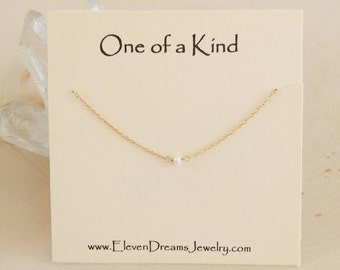 New! Minimalist freshwater pearl necklace. Gift. Gold or silver. Dainty. Choker. Bridesmaid. Holiday gift for her. Meaning. Empower women