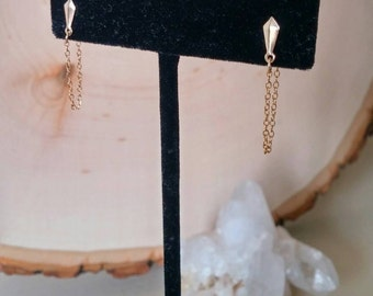 Geometric gold stud and chain earrings. Dainty. Minimalist. Everyday. Unique. Gift. Simple. Basic stud. Classic. Small.