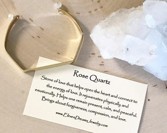 Rose Quartz Gold Cuff Bracelet. Spiritual jewelry with meaning. Love Peace Forgiveness. Stone of love.
