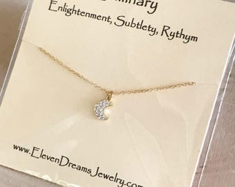CZ Moon Charm Gold Necklace. Carded necklace. Luminary. Enlightenment. Rythm. Spiritual meaning. Gift