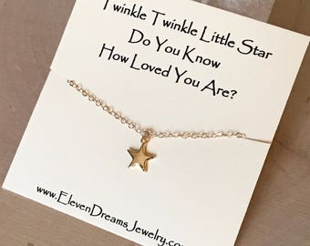 """CHILDREN'S and Adult """"Twinkle twinkle little star, do you know how loved you are?"""" Gold Star Charm Necklace. ( Little Girl , Teenager)"""