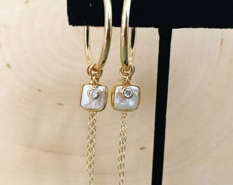 NEW! Gold Hoop Earrings with Pearls, Cubic Zirconia, and Chain Dangle Detail. (Diamond look) safe for sensitive skin