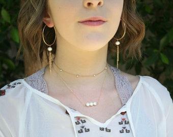 Tiny Orbits Pearl Choker / Wrap Bracelet - 14k Goldfill or Sterling silver