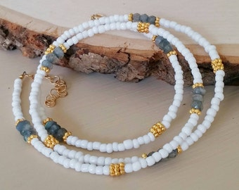 Labradorite , gold & white seed bead wrap bracelet / necklace Boho chic. Grey. Coachella. Minimalist. Dainty. Delicate. Arm candy Stack Gift