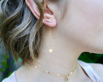NEW! Celestial 14k Goldfill or Sterling Silver Moon Earclimbers with Star drop.  3-in-1 design!