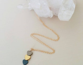 Triple heart necklace. Gold heart. Grey heart. Beige heart. Hematire. Dainty. Valentine gift. Love. Metallic gold. Layer. Gift
