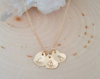 Personalized Heart Initial Charm Necklace. Custom. Hand stamped . dainty. Sweet. Gift. Bridesmaid. Minimalist. Mothers Day. Children. Love