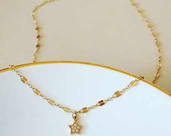 CZ Gold Star Charm Choker Necklace. Minimalist. Dainty. Everyday. Layer. Unique chain. Gift. Bridesmaid.