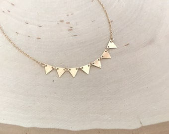 Stability Gold or Silver Multi Triangle Geometric Necklace