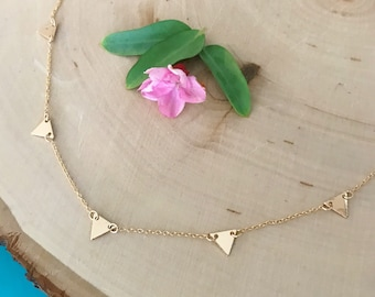 Gold or Silver Triangle Charm Choker / Short Necklace - Geometric