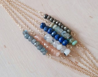 Dainty gemstone bar necklace. GOLD OR SILVER. Layering Necklace. Blue. Lapis. Labradorite. Orange. White. Green opal. Minimalist Bridesmaid.