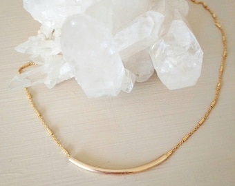 Gold tube bar necklace. Short. Chain. Sparkle. Gift. Bridesmaid. Dainty. Layer. Boho.
