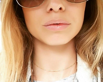 Dainty gold Vermeil choker necklace. Bar and chain. Layer. Boho. Gift. Bridesmaid. Trendy. Adjustable. Sparkle.