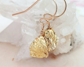 Back in Stock! Gold Nugget Drop Earrings. Minimalist. Nature. Gold plated pyrite. Unique. Gift. Dainty. Night out. Bridesmaid