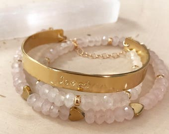 "Rose Quartz Hand-stamped ""Loved"" gold cuff bracelet wrap. 4 in 1. Necklace. Choker."
