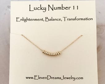 Lucky number 11 (eleven) necklace! Enlightment, balance, transformation . Carded spiritual necklace. Dainty gold necklace.