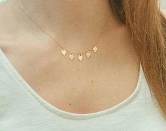 Dainty Gold drops necklace. Diamond. Rhombus. Short everyday Sparkle. Minimalist. Layer. Gift. Bridesmaid. Collar Boho chic Geometric fringe