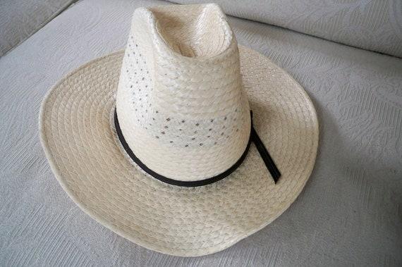 Vintage Straw Men's Hat Straw Summer Hat - image 4