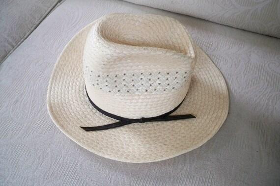 Vintage Straw Men's Hat Straw Summer Hat - image 1