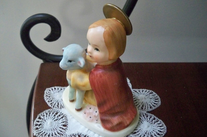 Vintage Collectible Figurine Lefton Young Saint and Lamb Hand Painted