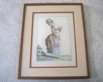 Vintage Art Framed Print French Fashion Marie Antoinette Style