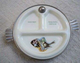 Vintage Serving Baby Food Warming Divided Bowl Hungry Birds by Eureka