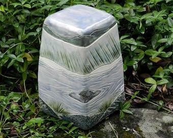 Quiet River Stoneware Urn, 6 cup urn, handmade ceramic urn, blue and green urn, landscape urn