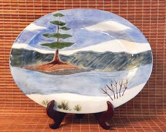 Large Snowy Pine Platter,  Handmade Oval Serving Plate, Turkey Platter, Landscape Pottery