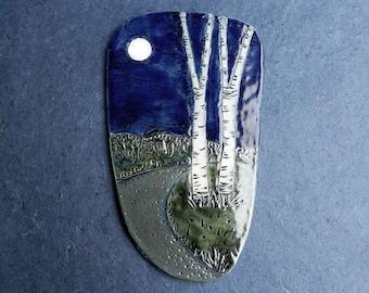 Birches in Moonlight, free form ceramic landscape tile, stoneware plaque, ceramic wall art