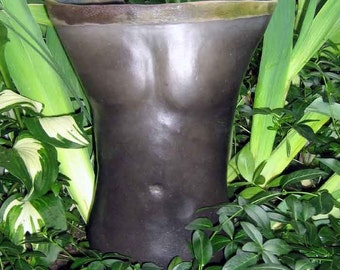 Black Raku Male Torso Sculpture