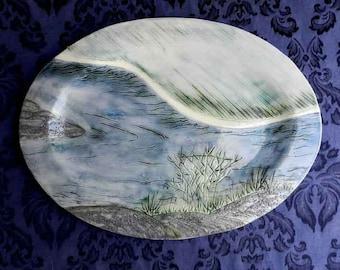 XL Stoneware River Platter, Turkey Platter, or Display Plate