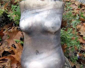 Smokefired Female Torso, Fine Art Sculpture, Decorative Vase